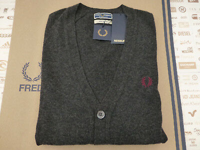 FRED PERRY Cardigan Italian Reissues V-Neck Size 40 Charcoal Wool Top RRP£140
