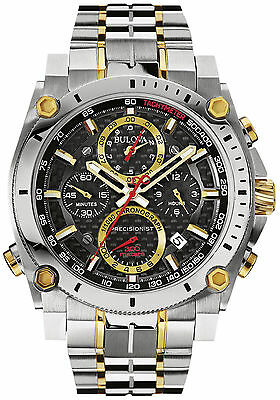 New Bulova Two Tone Precisionist Chronograph Men' s Classic Watch 98B228