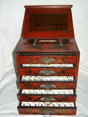 Collectible Chinese Antique Style 144 Mahjong Game Set and Case box