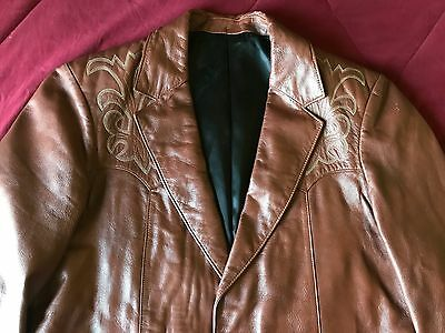 mens 40 vintage Scully western brown lamb skin leather blazer sport coat medium