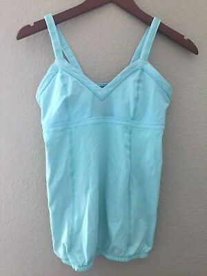 12fc1c59c4 Lululemon Mint Blue Green Light Up Tank Top Ruched Back Zippered Pocket Size  8