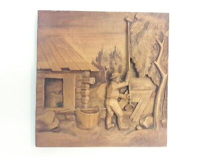 VINTAGE RELIEF CARVED WOOD Wall Art Signed L. KUPARINEN Swedish