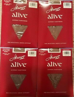 Vintage Hanes Alive Support Pantyhose, 4 Pairs Style: 811 Size: A Color: Mayfair