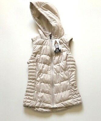 NEW BE BY BLANC NOIR Women's Hooded Quilted Vest Tan, Size Small S