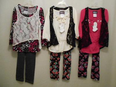 RMLA 8 Pc Mixed Lot 3 Legging Outfits + Necklace Girls Size 6X NWT