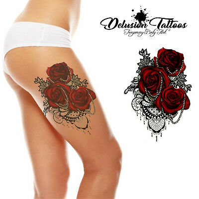 Realistic Temporary Tattoo - Roses & Pearls Lace, 3D Rose, Womens, Waterproof