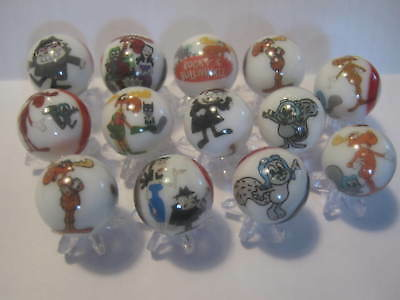 Rocky and Bullwinkle GLASS MARBLES 5/8 SIZE with stands