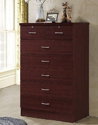 Chest Of Drawers Tall Bedroom Dresser 7 Drawer Tallboy Locking Clothing  Storage