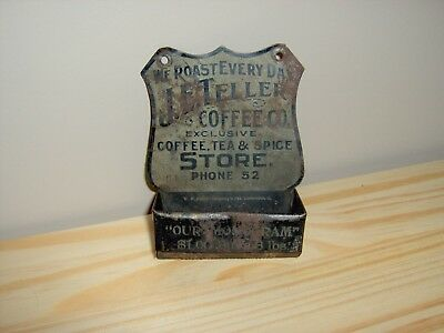 Early Tin Advertising Match Holder - JE Teller Co