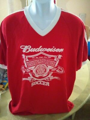 Vintage Budweiser Beer Men's Shirt XL Red Spell Out Soccer