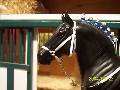 Jaapi Red White and Blue striped halter w//lead fits Breyer//Stone drafter