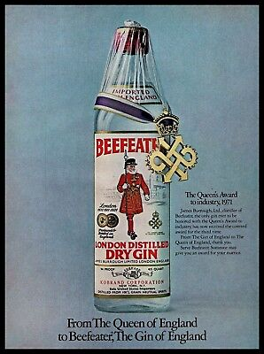 1971 Beefeater Vintage PRINT AD London England Distilled Dry Gin Drink 1970s