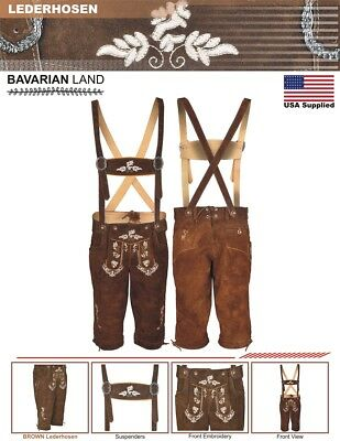 Oktoberfest Bavarian Lederhosen Real Leather Brown Matching long Short German