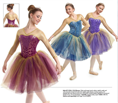 Glimmer Gold Teal Blue or Purple Long Romantic Ballet Tutu Curtain Call Costume