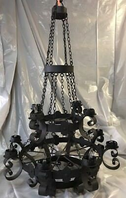 Black Iron Chandelier Light 1920's  Deco Spanish Revival Castle Dungeon Gothic