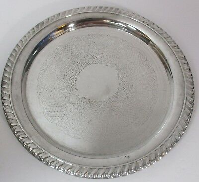 """8.25"""" Leonard Silverplate Ornate Etched Round Serving Tray Food Platter Plate"""