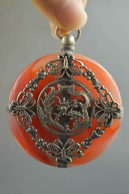 Collectable Handwork Decor Old Jade Armor Miao Silver Carve Flower Lucky Pendant