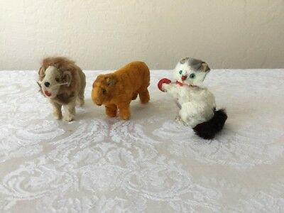 Vintage Original Fur Toys Real Fur Animals W Germany Lot Lion Tiger Kitten