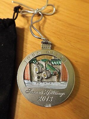 JOHN DEERE CHRISTMAS ORNAMENT - 2013 PAINTED PEWTER  LTD EDITION - with POUCH
