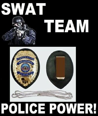 Swat Team Police Gold Badge Clip Holder + Neck Chain Concealed Carry Permit Ccw
