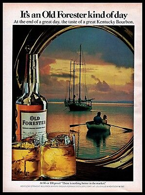 1971 Old Forester Vintage PRINT AD Kentucky Bourbon Whisky Sailboat Dawn 1970s