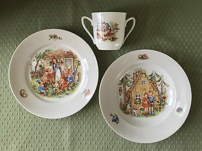 Vintage Childs 3 Piece Dinnerware Set Plate Bowl Cup