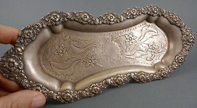 Antique Sterling Silver Repousse Ornate Tray Victorian Old Estate Find 210 Grams
