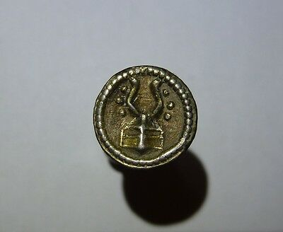 RARE medieval knightly silver button with HERALDIC HORNED HELMET !!
