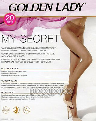 GOLDEN LADY MY Secret 20 Den Seamless Tights Pantyhose - Large ... a04f7a91fac