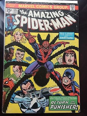 AMAZING SPIDERMAN 135, 2nd APPEARANCE PUNISHER, plus 162, 174, 175 FIRST JIGSAW