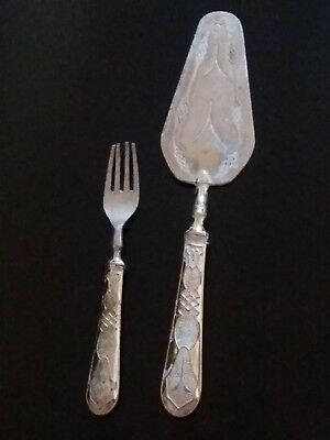 Antique Victorian Sterling Silver 800 Cake Cutlery Serving Fork Set Having Hand
