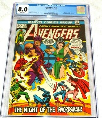 1973- Marvel Comics-The Avengers #114- Mantis-Swordsman-Cgc 8.0 White Pages