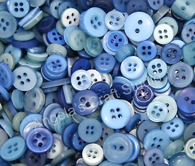 100 SMALL BLUE Buttons New - Great for Sewing Craft Scrapbooking & more