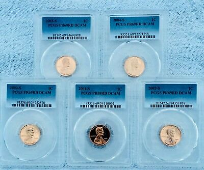 2000-2004-S Lincoln Lot Of 5 PCGS PR69RD DCAM  Shipping $$ on First Coin Only