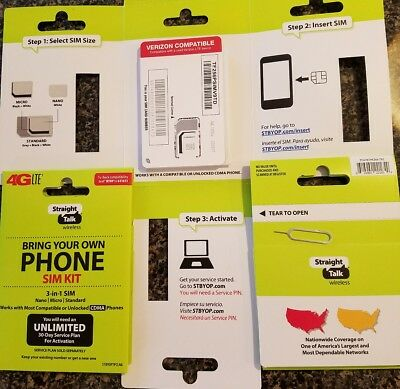 STRAIGHT TALK VERIZON SIM Card 4G LTE Activation Kit w