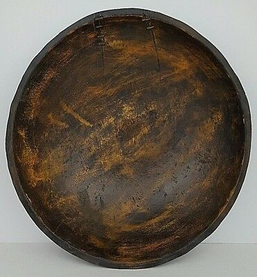 "Antique 19th Century Primitive 16"" Turned Wooden Burl Bowl Heavy Dark Patina"