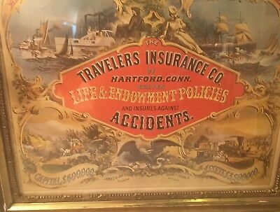 Vintage Advertising Travelers Insurance Company Litho early office standard