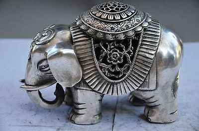 CHINESE old copper plating silver HANDWORK ELEPHANT STATUE