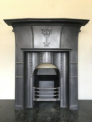 Original Restored Antique Cast Iron Art Nouveau Fireplace Large Bedroom (TA499)