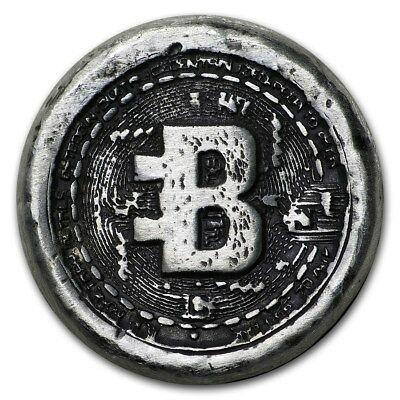 "1 oz .999 Solid Silver Bullion "" BITCOIN "" Hand Poured Commemorative Art-Round"
