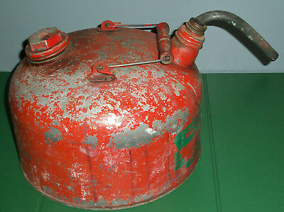 Vtg Red EAGLE Galvanized Steel 2.5 gal Gallon Gas Can Double Screw Off Cap Spout