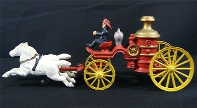 Vintage CAST IRON Driver w/ Horse Drawn Pumper FIRE TRUCK Wagon Toy