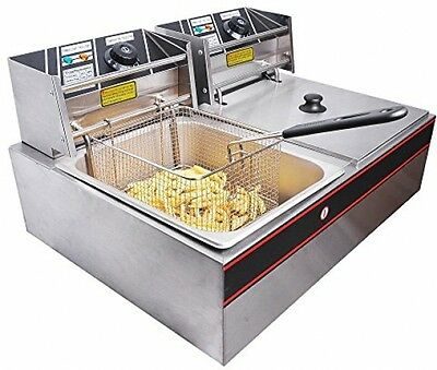 Commercial Deep Fryer Countertop Double Wide Restaurant Stainless Steel Electric