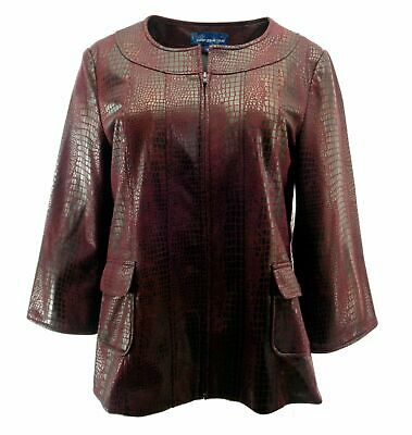 Susan Graver Croco-Embossed Brushed Faux Leather Jacket L A91852