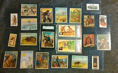 Buffalo Bill, Sitting Bull, Wild Bill Hickock 22 Gum/Tobacco Card Lot PSA EX/MT