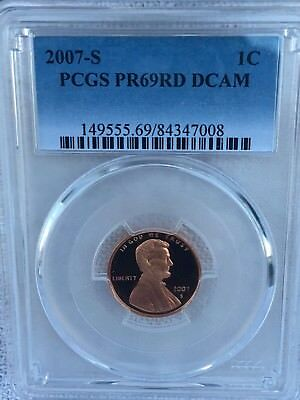 2007-S Lincoln  Proof PCGS PR69RD DCAM  Shipping $$ on First Coin Only