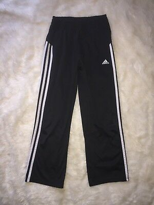 Adidas Boys Girls Unisex Kids Track Pants Black Size 8 Stripes Athletic