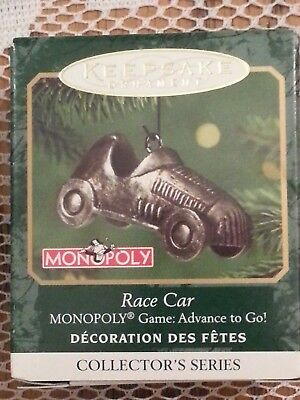 2001 Not 2017 Hallmark Ornament Monopoly Race Car Pewter Miniature In Box