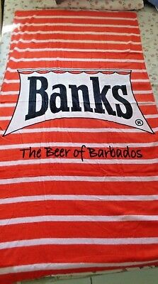 "Banks The Beer of Barbados Beach Pool Bath Towel New 58"" x 30"" 100% Cotton"
