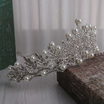 Bridal Crown Rhinestone Wedding Prom Tiara Jewelry Bride Pearl Hair Accessories